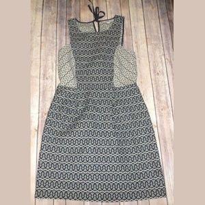 Ann Taylor LOFT Printed Colorblock Dress Size 6